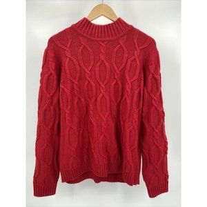 Evan Picone Red Cable Knit Sweater Size XL